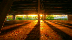 Underground parking sunset lights hdr motion time lapse Stock Footage