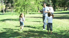 Parents and children playing baseball in a park Stock Footage
