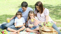 Happy family having a picnic in a park Stock Footage