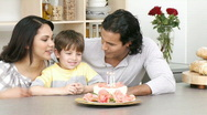 Close-up of family celebrating kid's birthday Stock Footage