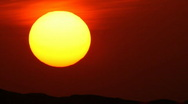 Sunet with huge sun 720p Stock Footage