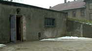Auschwitz 1 gas chamber 1 pan up to chimney Stock Footage