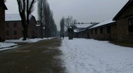 Auschwitz 1 grim snow winters day Stock Footage
