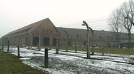 Auschwitz 1 inside main gate, pan round Stock Footage