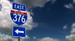 Interstate Road Sign 1211 Stock Footage