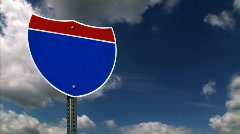 Interstate Road Sign 1213 - Blank Stock Footage