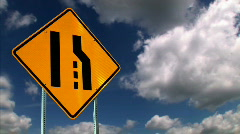 Merge Ahead Road Sign Stock Footage