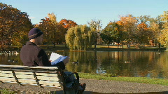A man does some reading on a park bench (2 of 2) Stock Footage