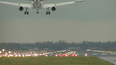 airplane landing on airport - stock footage