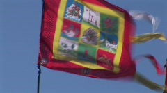 Spiritual buddhist peace flags in the wind Stock Footage