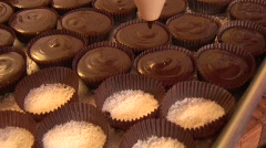 Pouring chocolate from above Stock Footage