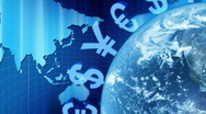 Background with the earth, world map and money. Stock Footage