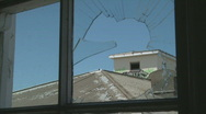 Broken window and vandalised roof Stock Footage