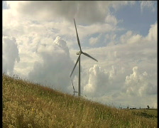 Wind turbine windy day Stock Footage