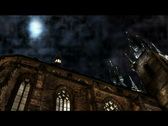 Night moon over church Stock Footage
