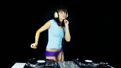 female sexy dj dancer club party celebration music woman - stock footage