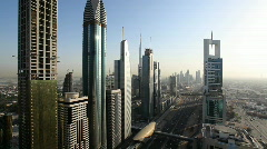 dubai skyscrapers - skyline at daylight - stock footage