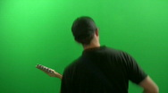 Stock Video Footage of Playing the Guitar in front of a Green Screen