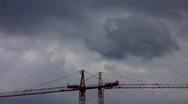 Stock Video Footage of Construction cranes Crisis Risk and Chance