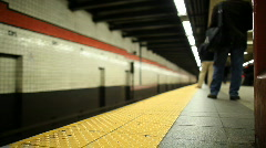 NYC subway as a train arrives   - stock footage