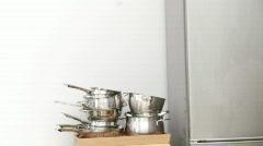 Panorama of family having breakfast Stock Footage