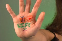 "Beautiful Teen Girl Shows ""Life"" on Her Hand Stock Footage"