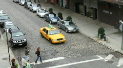 People Crossing in front of Taxi Stock Footage