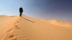 Businessman climbing the dune - victory pose Stock Footage