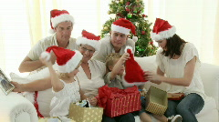 Family Christmas at home - stock footage