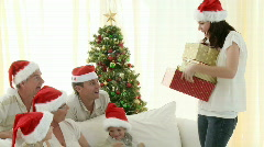 Grandparents and Grandchildren enjoying Christmas Stock Footage