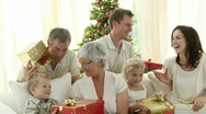 Family happy a great time at Christmas Stock Footage