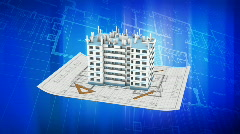 Apartments being built on a blueprint paper - stock footage