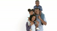 Stock Video Footage of Afro-American parents giving their children piggyback rides