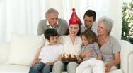 Happy family celebrating mother's birthday Stock Footage
