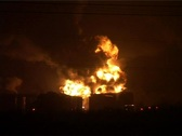 Stock Video Footage of OIL DEPOT FIRE