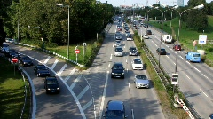 Autobahn Motorway Expressway highway Traffic Urban Smog air pollution Stock Footage