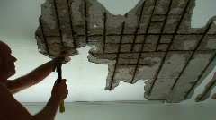Repairing corroded metal rods in ceiling 2 - stock footage