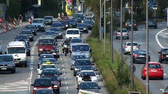 Autobahn Motorway Expressway highway Traffic Urban Smog air pollution Stock Footage