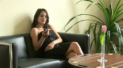 girl talking on the phone selective focus - stock footage