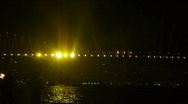 Stock Video Footage of Bridge is decoreted with colorful lights for celebration event