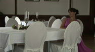 Beautiful Girl Gets Up From The Table And Walks Away Stock Footage