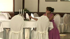 girl sitting at the table selective focus - stock footage