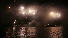 Firework over sea at night /celebrating annivarsary Stock Footage