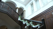 Woman Coming Down Staircase In Luxurious Home Stock Footage