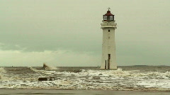 Lighthouse on a stormy day 2 Stock Footage