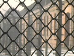 Auschwitz Wire Fence Barracks 2 Stock Footage