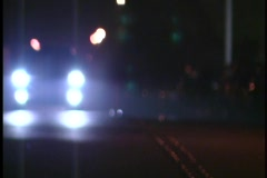 Police car lights up Stock Footage