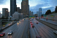 Intervallikuvaus Highway Traffic Seattle Skyline NTSC Arkistovideo