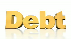 Stock Video Footage of Debt Explode on White