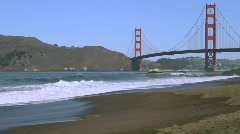 Golden Gate Bridge with beach Stock Footage